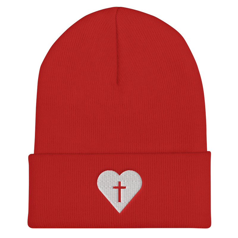 Heart Beanie - Red