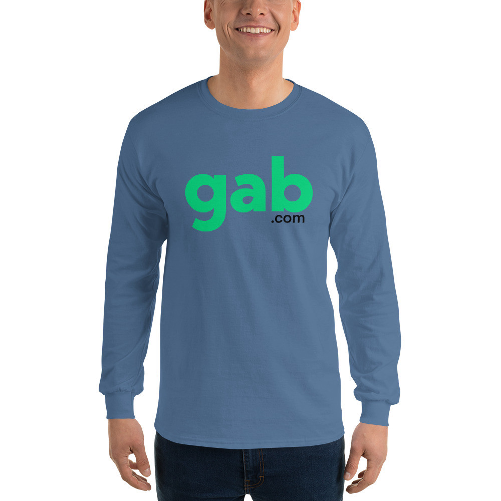 Men's Long Sleeve Gab.com Shirt - Indigo Blue / M