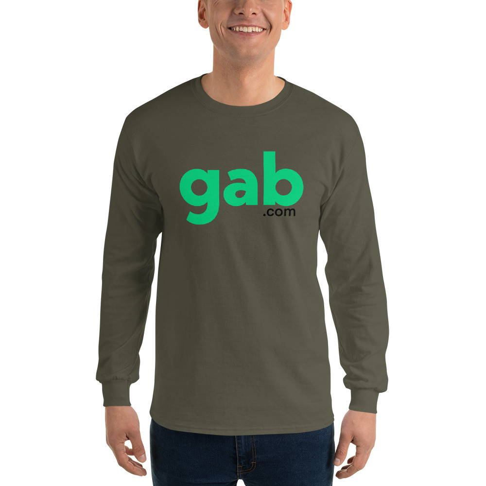 Men's Long Sleeve Gab.com Shirt - Military Green / L