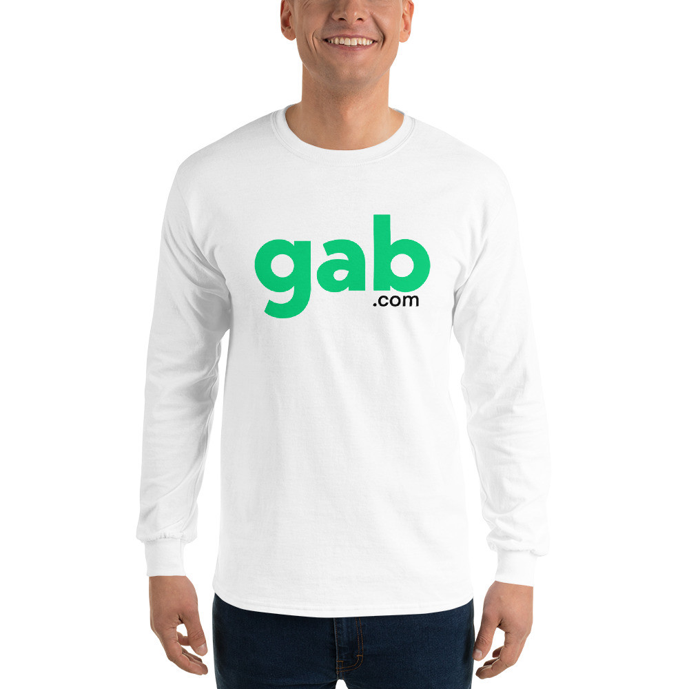 Men's Long Sleeve Gab.com Shirt - White / S